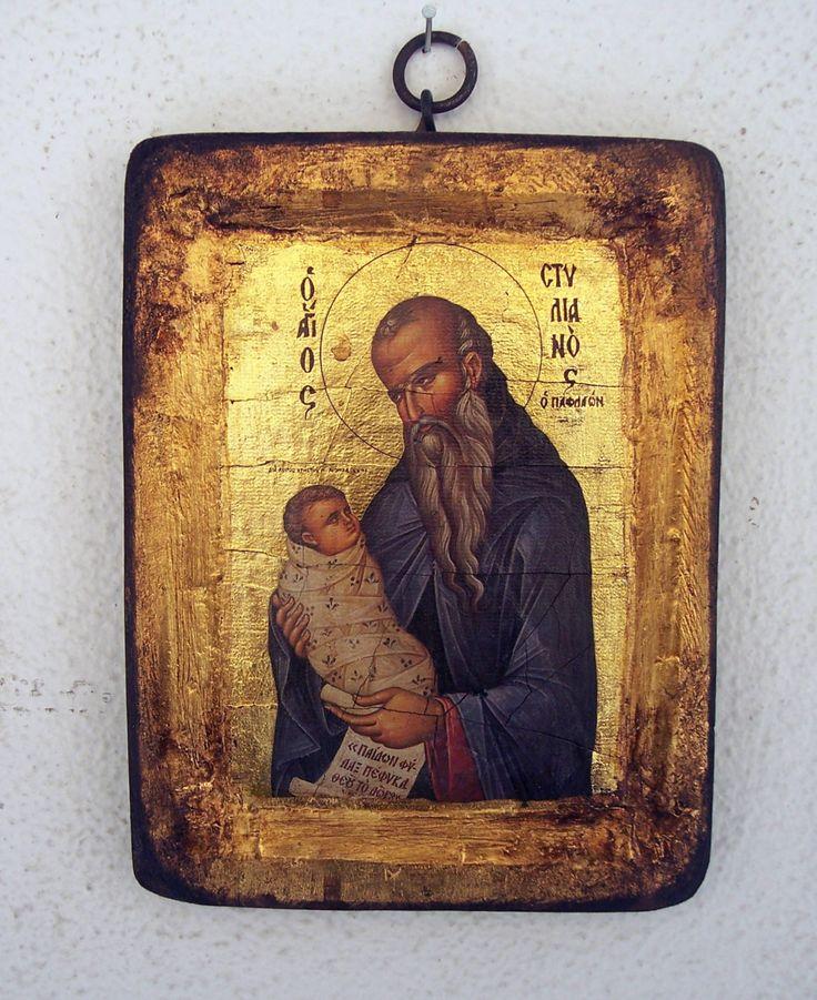 Orthodox greek religious icon with mount Athos style, vintage and byzantine style with Saint Stylianos by GardenOfLinda on Etsy