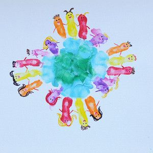 """This awesome Earth Day craft answers the question, """"What is Earth Day about?"""" It's about working together to keep our planet clean! This adorable painting is made from handprints!"""