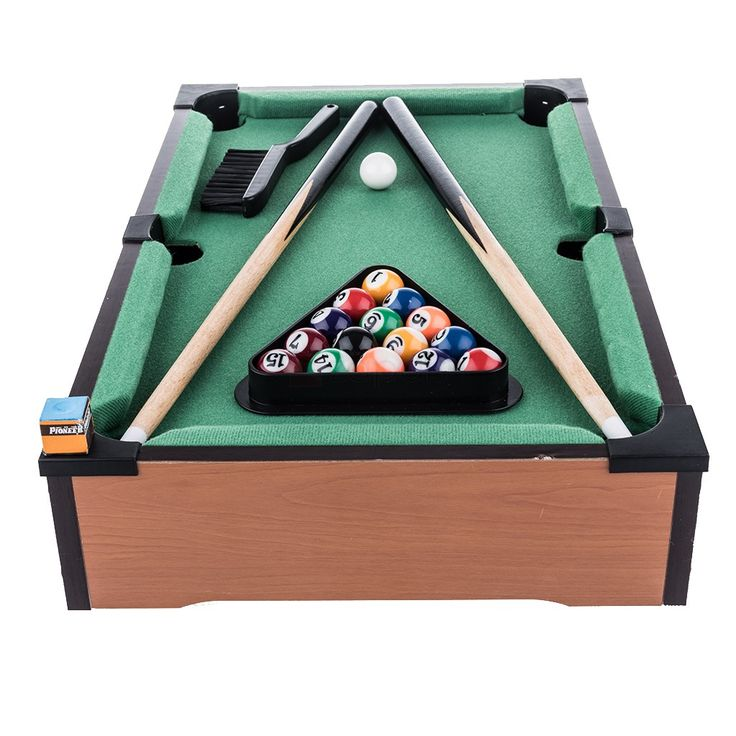 Mini & Practical Tabletop Pool Table Set. AssemblyFully Assembly FoldableNo Product Length51cm Product Width31cm Product Depth8.5cm Set includespool table, 15 x solid colored ball, 1 x cue ball, 2 x pool cue, 1 x chalk, 1 x triangle, 1x felt brush Age3 years above N.W.2.10kg Package Size52L x 32W x 9.5H cm