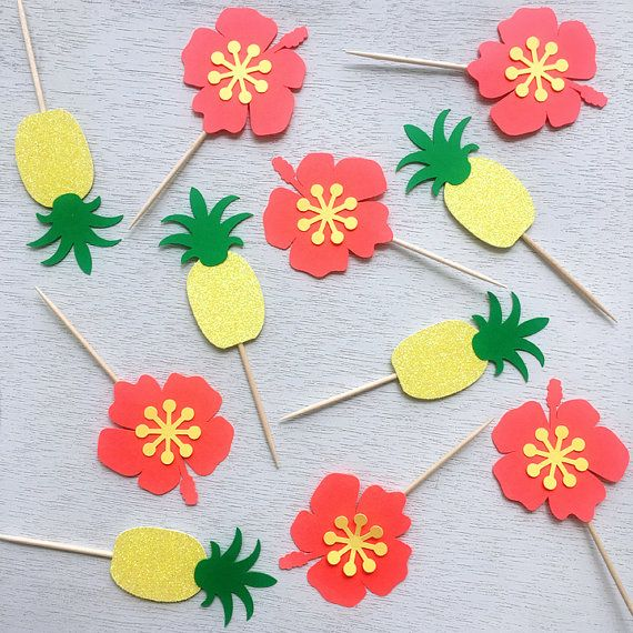 Luau Cupcake Toppers, Hawaiian Party, Luau Party Decoration, Pineapple Toppers, Hibiscus Toppers, Tropical Party, Moana Toppers (Set of 12)