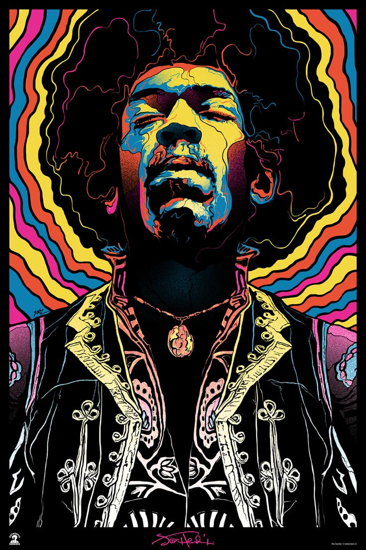 INSIDE THE ROCK POSTER FRAME BLOG: Gabz Jimi Hendrix, Voodoo Child Poster Release From Dark Hall Mansion