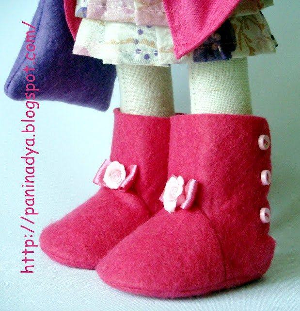 botas de muñecas de fieltro