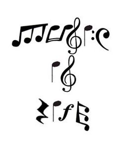 The things you can spell with notes; be creative! Music is Life