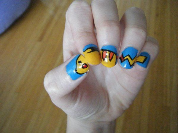 Pikachu Nail Art <3 So awesome and creative!!!