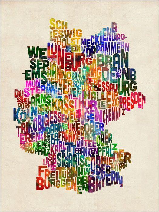 Typographische Text Karte von Deutschland    Die typographische Text-Karte von Deutschland, erstellt von den Namen der deutschen Regionen auf ein Alter
