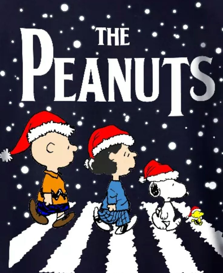 The Peanuts - Charlie Brown, Lucy, Snoopy and Woodstock Walking in the Snow