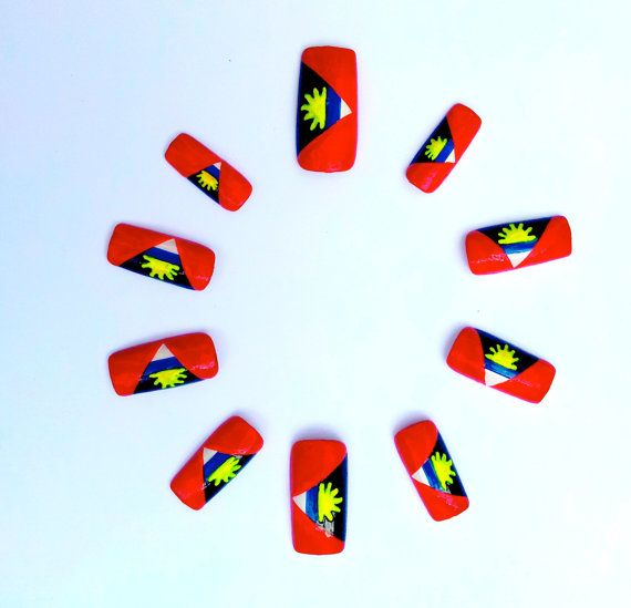 Carnival 'Antigua Flag' Ready To Wear Set of 10 by BangBangNails, £12.00