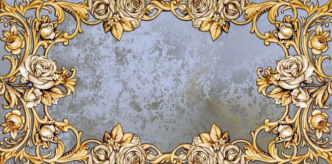 Horizontal vintage card with roses on silver background by Maria Rytova #rose #background # gold #silver #design