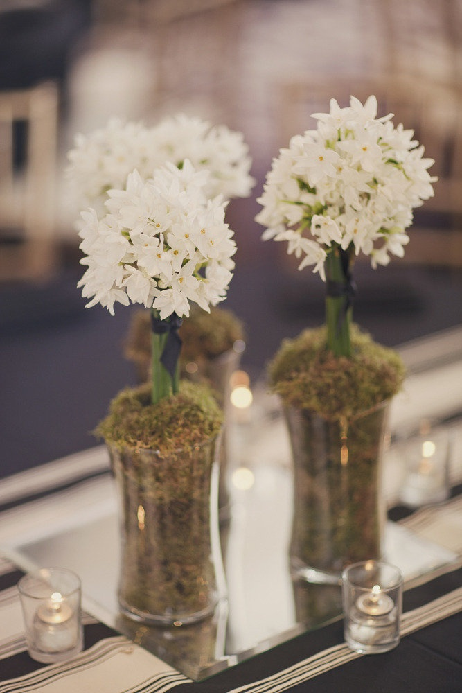 Clusters of paperwhites for centerpieces at this Atlanta Wedding via http://StyleMePretty.com/2012/04/20/atlanta-wedding-at-the-georgian-terrace-hotel-by-our-labor-of-love/ Photography by ourlaboroflove.com, Floral Design by trusoweddings.com