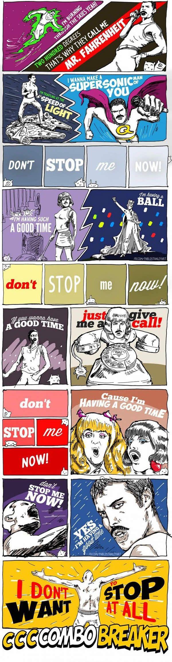 Letra de 'Don't Stop Me Now' do Queen em Quadrinhos!