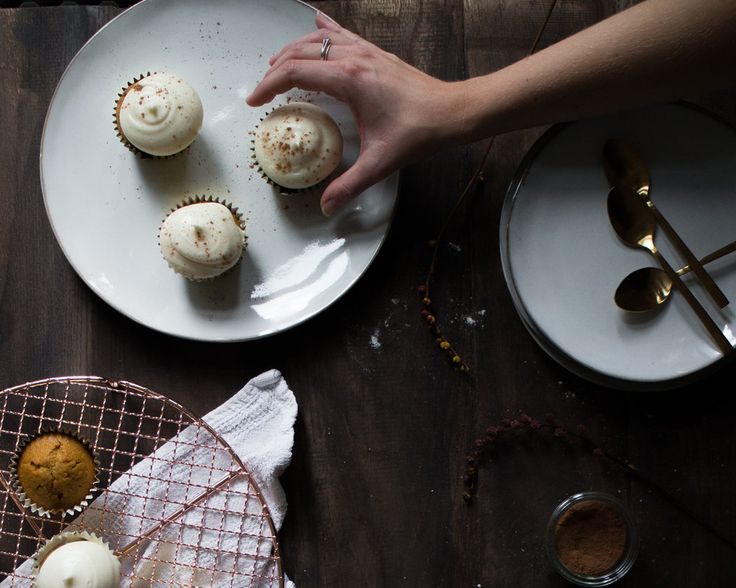 Pumpkin Spice Cupcakes with White Chocolate Truffles + Cream Cheese Frosting