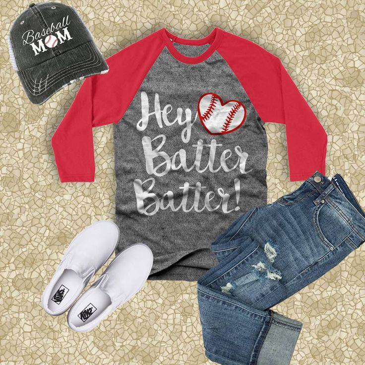"""Super Cute... Hey Batter Batter 3/4"""" Raglan Baseball Tee!  Only Available at The Sports Mom Shop!  Be sure to check out all our cute gear and accessories!"""