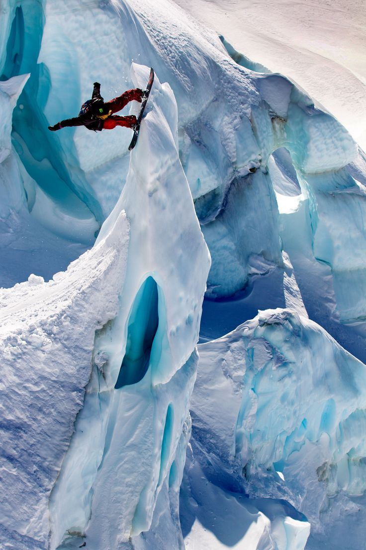 Glacierboarding - Fantastic photo of a snowboarder doing the most amazing things amongst the glacial ice and snow - Incredible!!