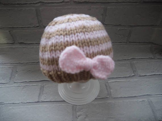 knitted baby hat/girls beanie hat/baby bow hat/beanie hat/baby