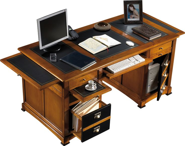 Bureau informatique merisier 5 tiroirs 1 porte laque noire L160: Amazon.fr: Cuisine & Maison