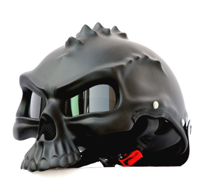 MASEI MATT BLACK SKULL 489 MOTORCYCLE CHOPPER HELMET FOR HARLEY DAVIDSON BIKER