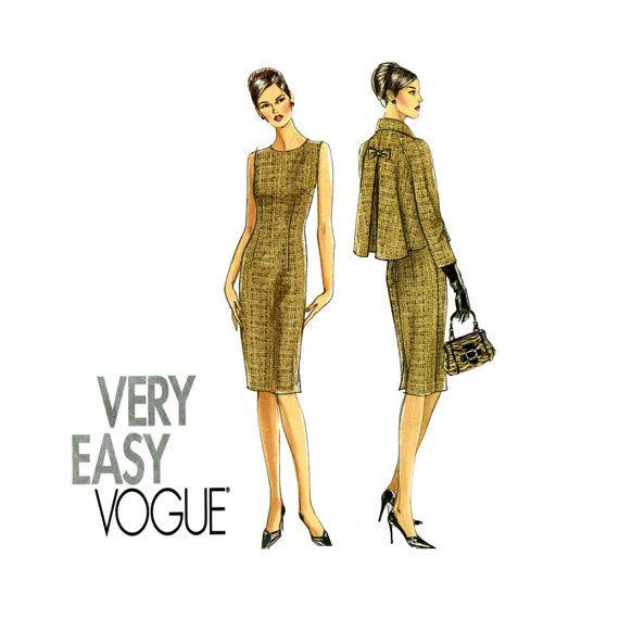 Vogue V8146 gaine robe et veste motif Style Vintage Uncut jour au soir recadrée évasée Swing Jacket Womens très facile à coudre Patterns