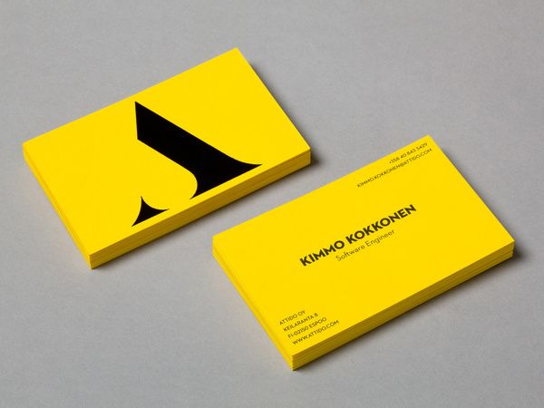 Attido logo and yellow board and black ink business card designed by Bond. #Branding #Design #BusinessCards #Print