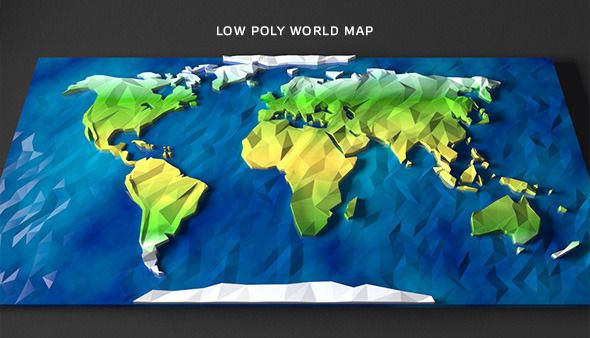Low Poly World Map - 3DOcean Item for Sale