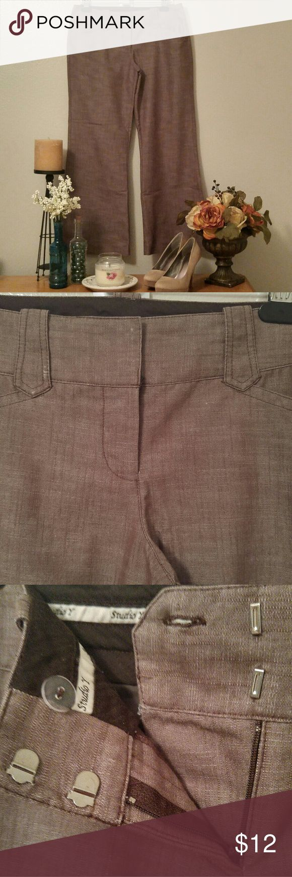 Brown Studio Y Slacks by Maurices - Size 7/8 Short Studio Y textured brown slacks sold by Maurices. Low cut waist, with slightly flared leg. Size 7/8 short. Great condition, only worn a few times. Studio Y Pants Boot Cut & Flare