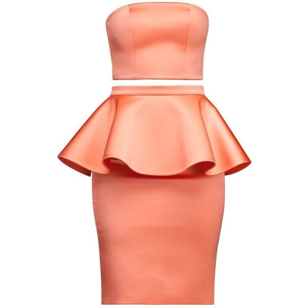 Alice Grace - Pink Coral Strapless Crop Top & Peplum Skirt Two Piece... ($475) ❤ liked on Polyvore featuring dresses