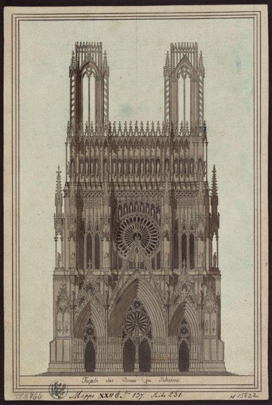 kriemhildsrevenge: Karl Friedrich Schinkel: Fassade der Kathedrale von Reims (um 1817) Aquarell, Feder in Schwarz, grau laviert, über Vorzeichnung mit Graphitstift und Zirkel / handgeschöpftes Papier (vélin)