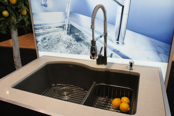 BLANCO MAESTRO™ faucet in chrome/cinder with BLANCO DIAMOND™ U 1.75 LOW DIVIDE in cinder