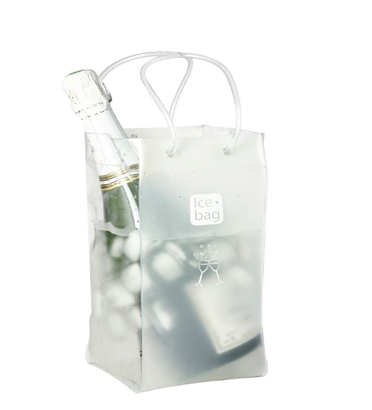 4215 Icebag Bi-Colour White  Product Description  Made from durable PVC plastic, the Ice Bag® is water tight, light weight, flexible and folds flat for easy storage. Small and easy to carry – saves table space and goes anywhere with your bottle Original, trendy and suitable for every occasion all year Economical – it chills faster than a traditional ice bucket Retail Packaging Colour: White & Clear