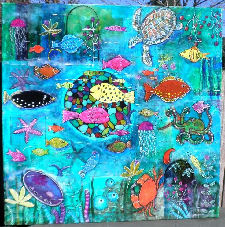Jewels of the Ocean-Home Decor Marine Tropical Fish Turtle-Original Painting