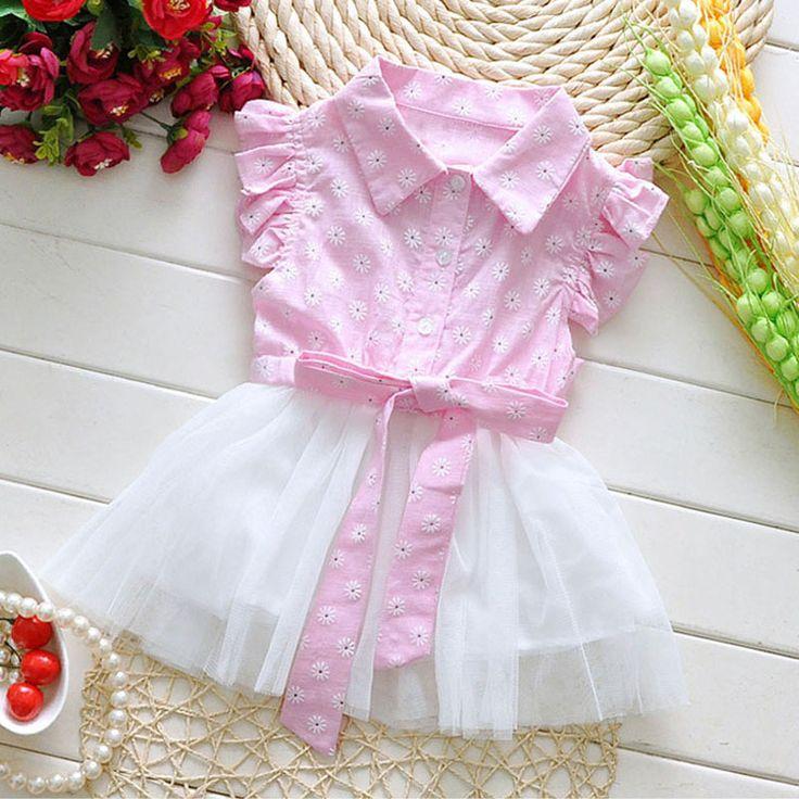 2016 תינוק קוריאני קיץ בגדי שמלת פרחים עבור בנות בייבי תינוקות בנות שמלות טוטו נסיכת מסיבת יום הולדת בגדי תלבושות