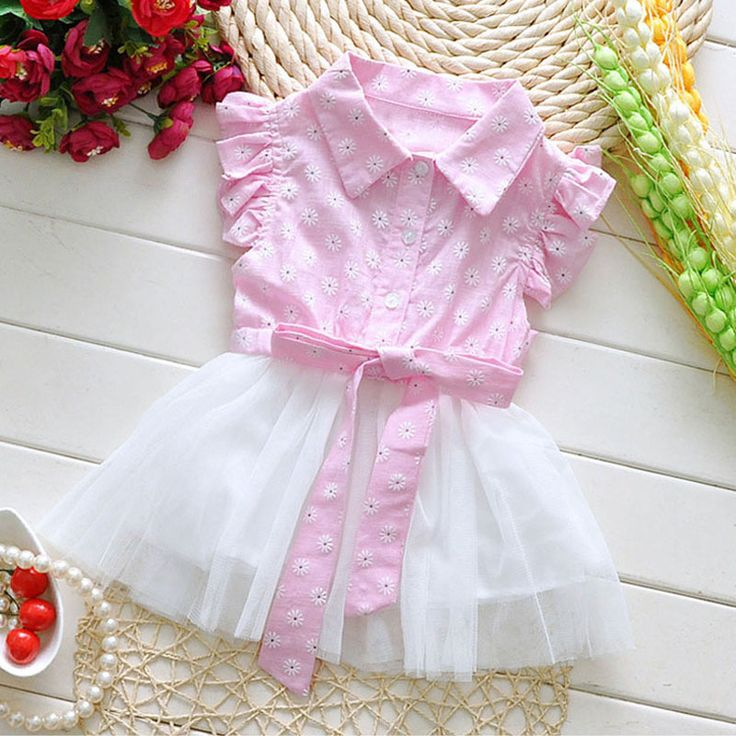 2016 summer Korean baby girls clothes flower dress for infant baby girls clothing birthday party princess tutu dresses costumes