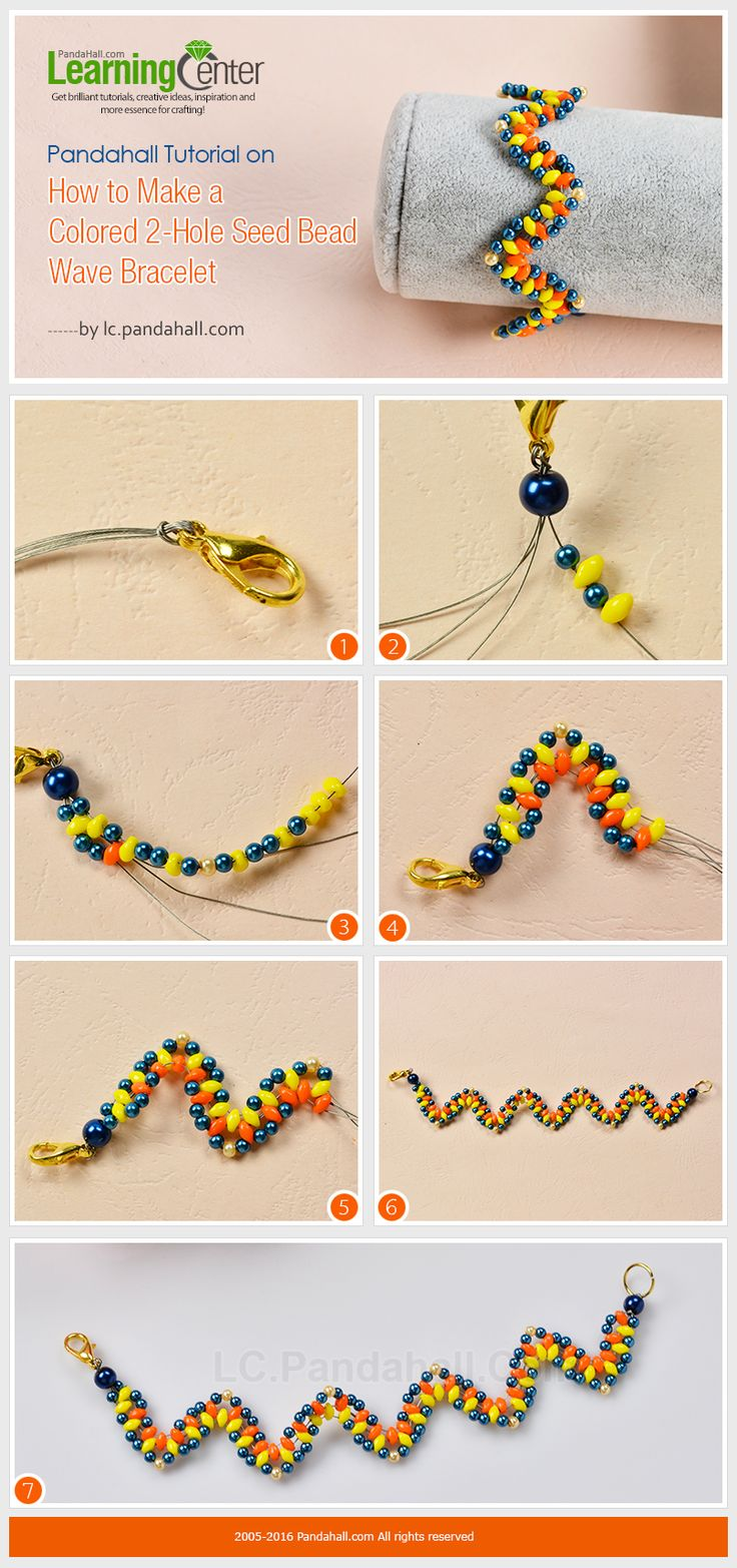 Tutorial on How to Make a Colored 2-Hole Seed Bead Wave Bracelet from LC.Pandahall.com