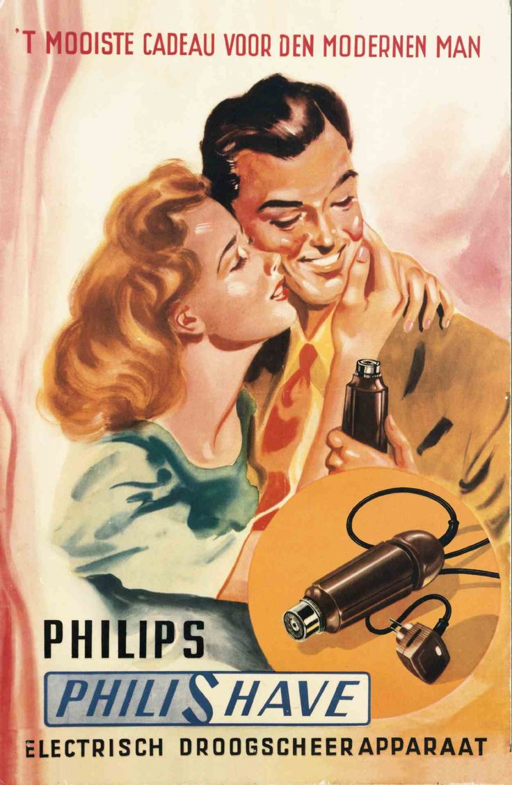 Vintage poster for the Philishave-- what's so alarming? A Philishave with just one head!  That must have been a full-time job, shaving with that thing.