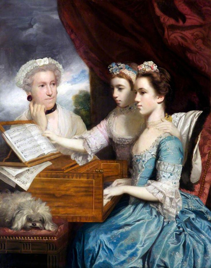 Mrs James Paine (d.1766), and the Misses Paine (Charlotte, b.1751, and Mary, 1753–1798)  by Joshua Reynolds    Date painted: 1766