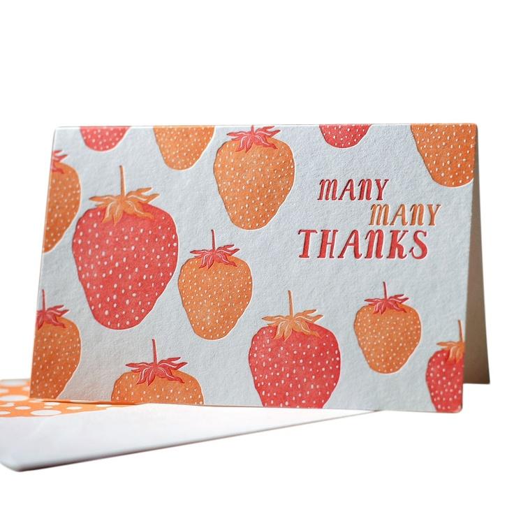 Carte de remerciement adorable.... Dites le avec des fraises!