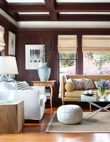 I would love to replicate this entire room. Found in Better Homes and Gardens. I love the updated wood panels on the walls and the yellow sofa.