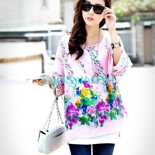 New Bohemia Batwing Floral See Through Chiffon Loose T-shirt Blouse Pink Top XL #New #Blouse #Casual