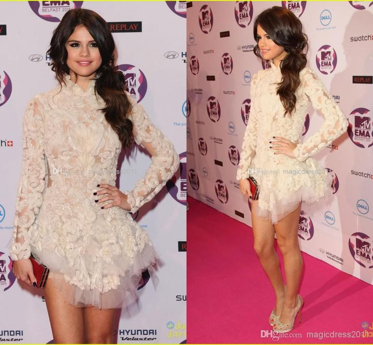 Wholesale Prom Dresses - Buy Amazing 2014 Selena Gomez Prom Celebrity Dresses A-Line Long Sleeve High Neck Short Mini Ivory Appliques Evening Gown Dress, $139.0 | DHgate