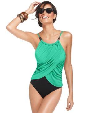 Magicsuit Draped Tummy-Control One-Piece Swimsuit - Blue 12