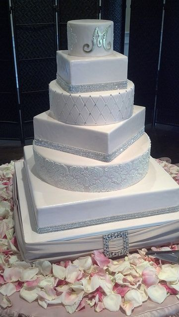 White extravagant wedding cake (1191) by Asweetdesign, via Flickr - Love the cake idea and the ribbon at the bottom but colors need to be different!
