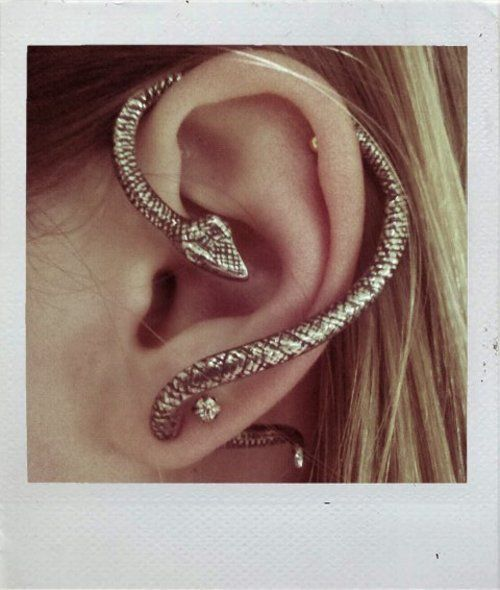 snake (I can't find the jeweler that made this, if you know...): Fashion, Piercing, Jewelry, Things, Accessories, Serpent Earrings, My Style, Ears Cuffs, Snakes Earrings