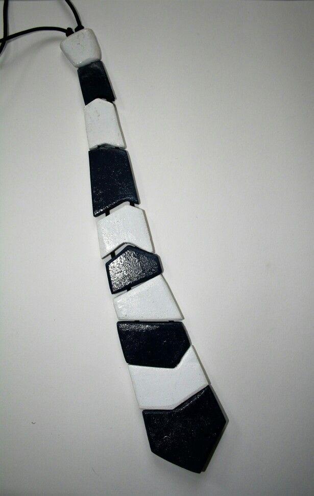 Cravatta in legno Blu e bianca