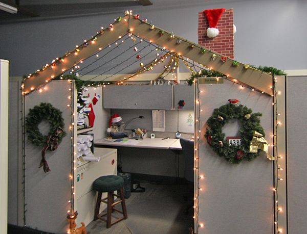 40 best office cubes images on pinterest funny pranks for Cubicle decoration xmas
