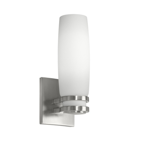 shown in brushed nickel finish with opal glass bathroom