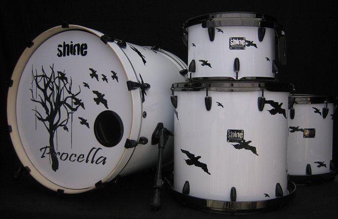 Shine custom drum kit.