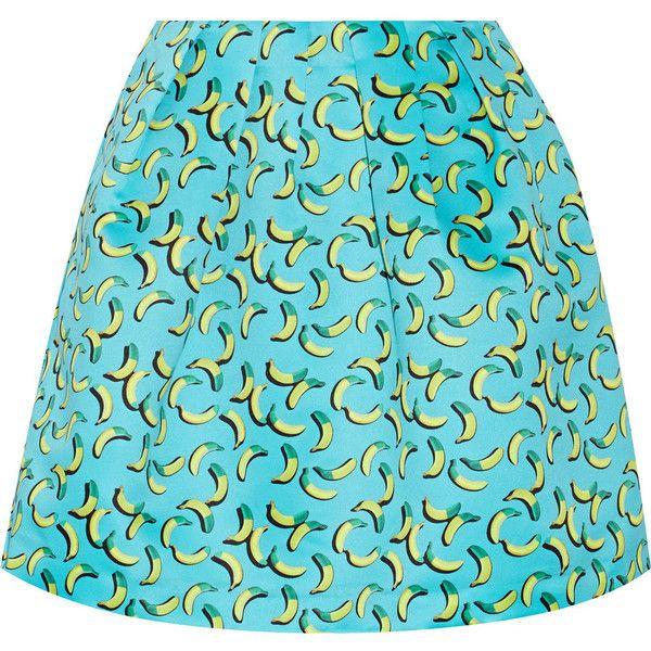 Markus Lupfer Bananas Kat printed satin mini skirt ($135) ❤ liked on Polyvore featuring skirts, mini skirts, blue, short mini skirts, zipper mini skirt, multicolor skirt, satin skirt and colorful skirts