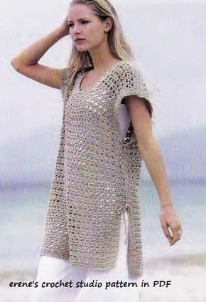 Crochet Pattern instruction in PDF for Tunic cover up or dress