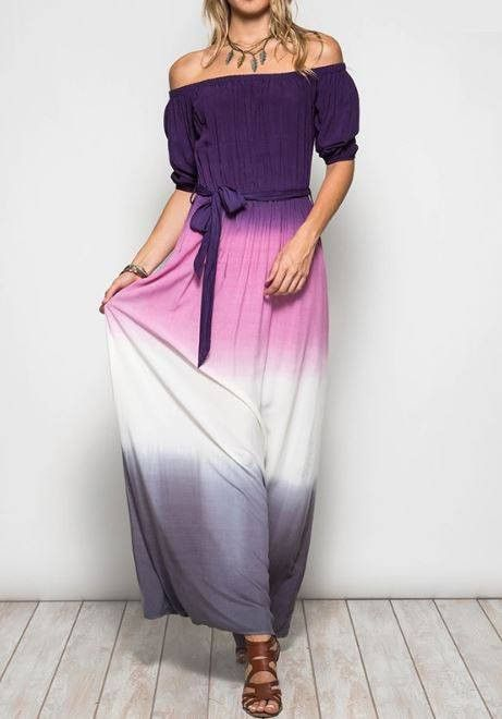 JUST THE WAY YOU ARE OMBRE MAXI DRESS - PURPLE & PINK