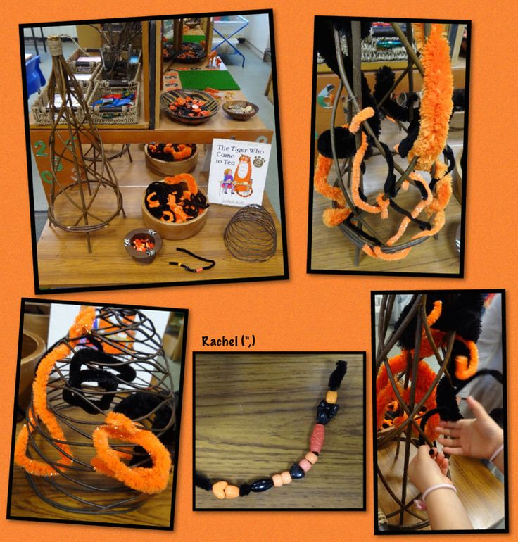 """Weaving and threading on the Finger Gym, with 'tiger' colours... from Rachel ("""",)"""