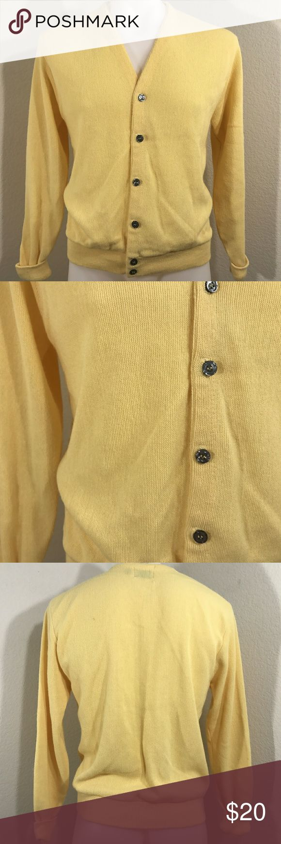 """VTG 1970s Mod Hip Sears Men's Store Yellow Sweater VTG 1970s Mod Hip Sears Men's Store Yellow Button V-Neck Sweater Cardigan Large   There are a few spots on the sweater that I have not tried any spot removal on.  Please see photos as we do consider them to be a part of the description.   Approximate measurements laying flat  Collar to shoulder 6""""  Shoulder to end of sleeve 27""""  Across chest pit to pit 25""""  Length shoulder to hem 28"""" Sears Sweaters Cardigan"""